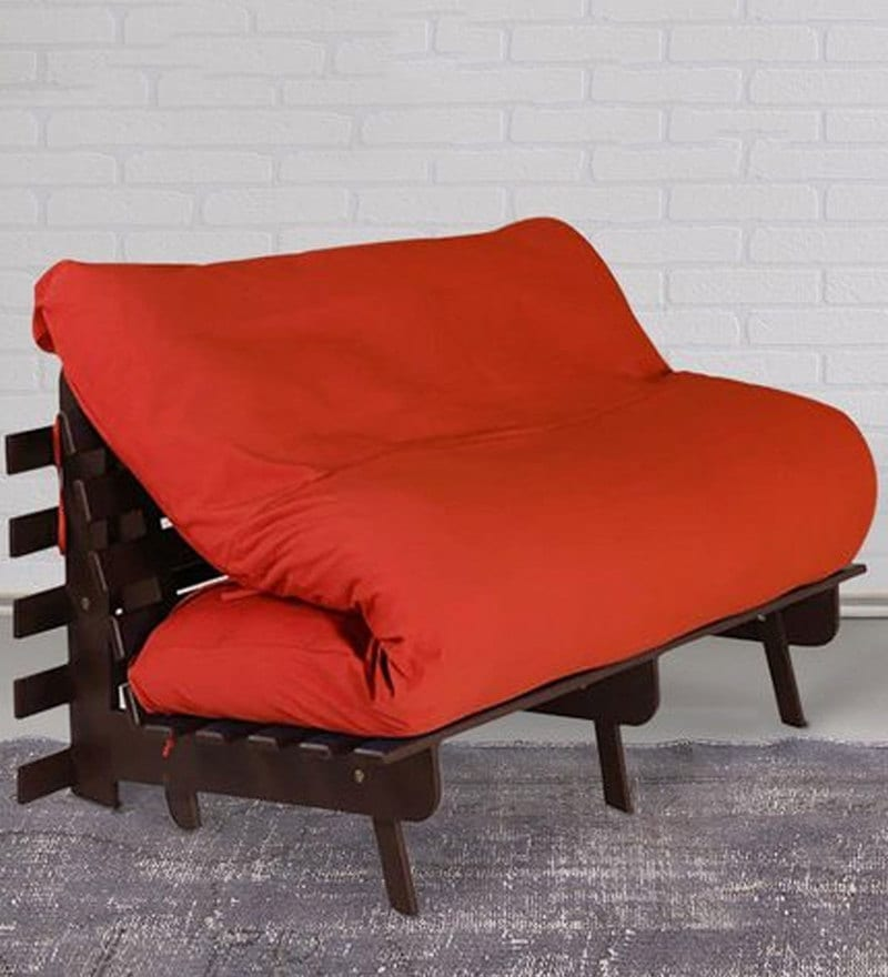 Double Futon with Mattress in Orange Colour by Auspicious Home