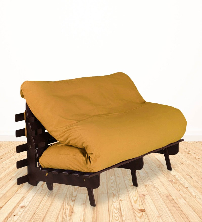 Double Futon with Mattress in Yellow Colour by Auspicious Home