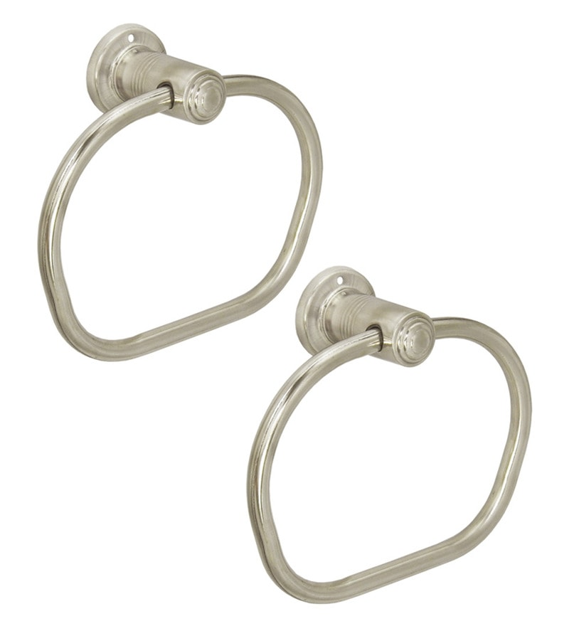 Doyours Apple Glossy Stainless Steel 7.4 x 6.2 x 3.1 inch Towel Ring Set