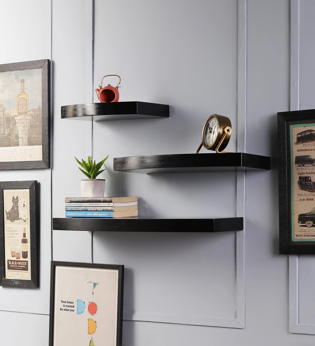 Buy Set Of 3 Engineered Wood Round Floating Wall Shelf In Black Colour By Driftingwood Online Mid Century Wall Shelves Wall Shelves Home Decor Pepperfry Product