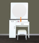 Dressing Table with Round Mirror in White Duco Paint