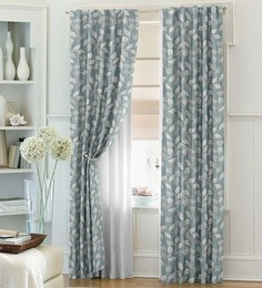 Dreamscape Blue Polyester Floral 108x94 INCH Door Curtain - Set Of 1