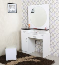 Iowa Dressing Table With Stool In White Duco Paint