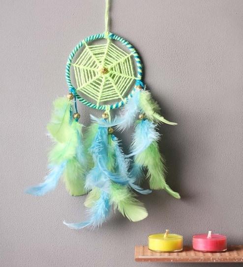 Buy Dream Catchers Online Buy Rooh Wellness Neon Green Blue Wool Dream Catcher Online 19