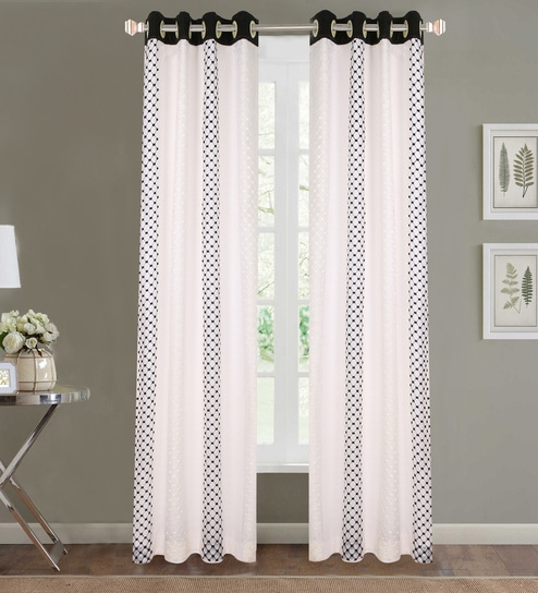 Black Poly Cotton 48 X 84 Inch Door Curtains