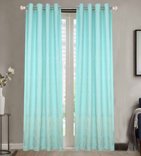 Blue Poly Cotton 48 X 84 Inch Door Eyelet Curtains