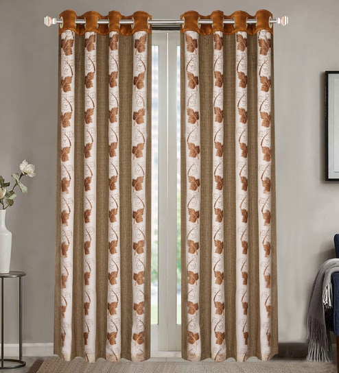 Brown Poly Cotton 84 X 48 Inch Floral Door Curtains
