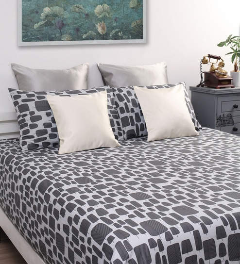Grey Cotton Abstract Double Bed Sheet (with 2 Pillow Covers)   Set Of 3