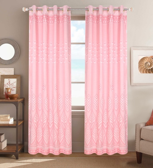 Pink Poly Cotton 48 X 84 Inch Door Curtains