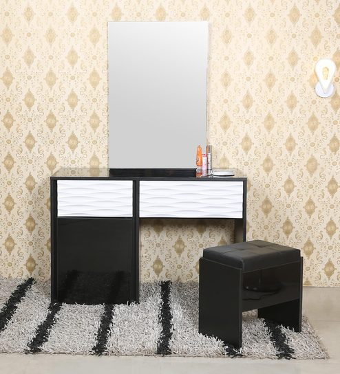 sale retailer e077b 3b692 Dallas Dressing Table with Stool in Black & White Colour by Parin