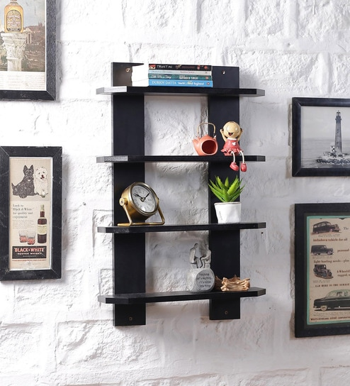 buy black mdf ladder shape wall shelf by driftingwood online rh pepperfry com ladder wall shelf ikea ladder wall shelf