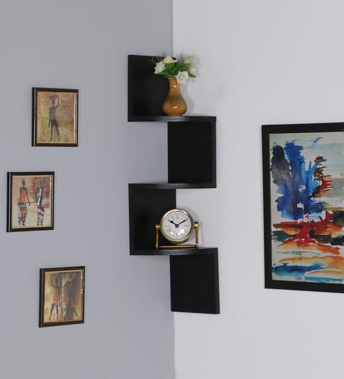black mdf zigzag wall mount corner 3 tier wall shelf by