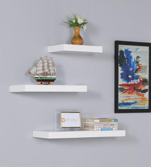 Floating Wall Shelf Set Of 3 In White Finish By Driftingwood