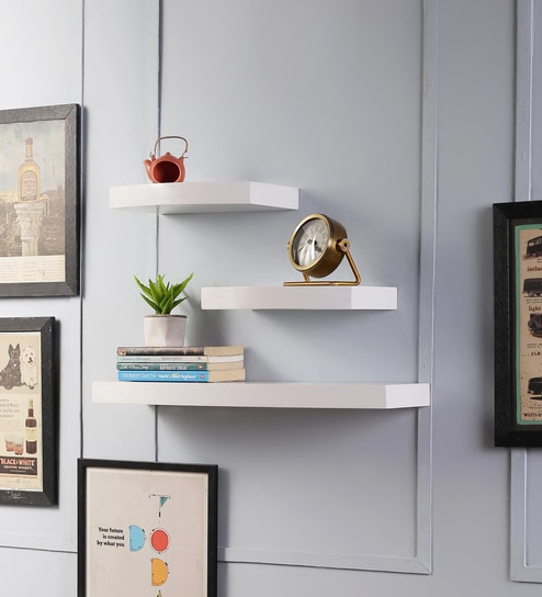Incredible Floating Wall Shelf Set Of 3 In White Finish By Driftingwood Best Image Libraries Barepthycampuscom