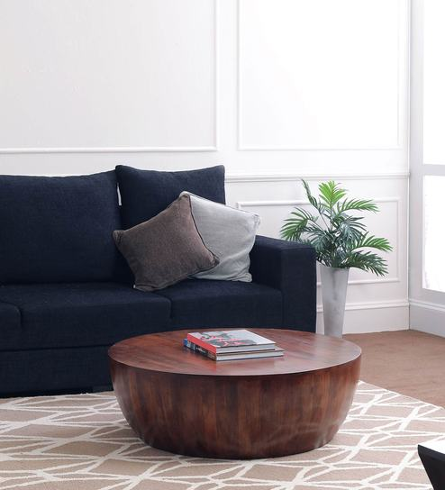 Drum Shaped Coffee Table.Drum Coffee Table In Mahogany Finish By The Armchair