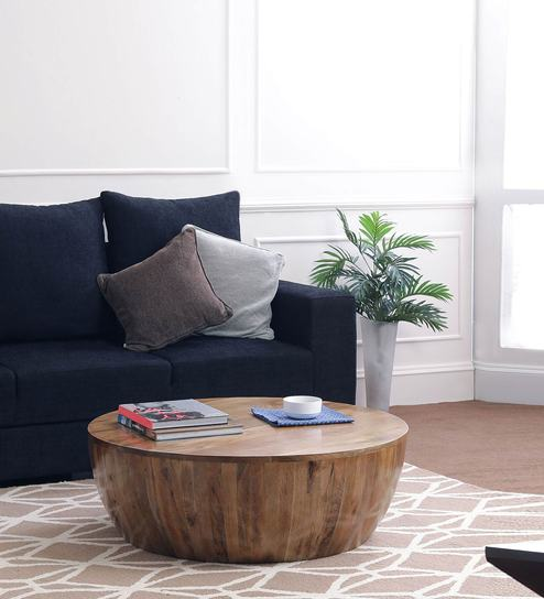 Drum Coffee Table in Natural Finish by The ArmChair