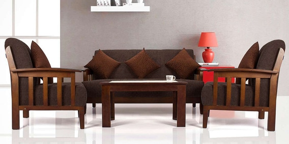 Buy Dritto Sofa Set 3 1 1 Seater In Dark Brown Colour By Vive