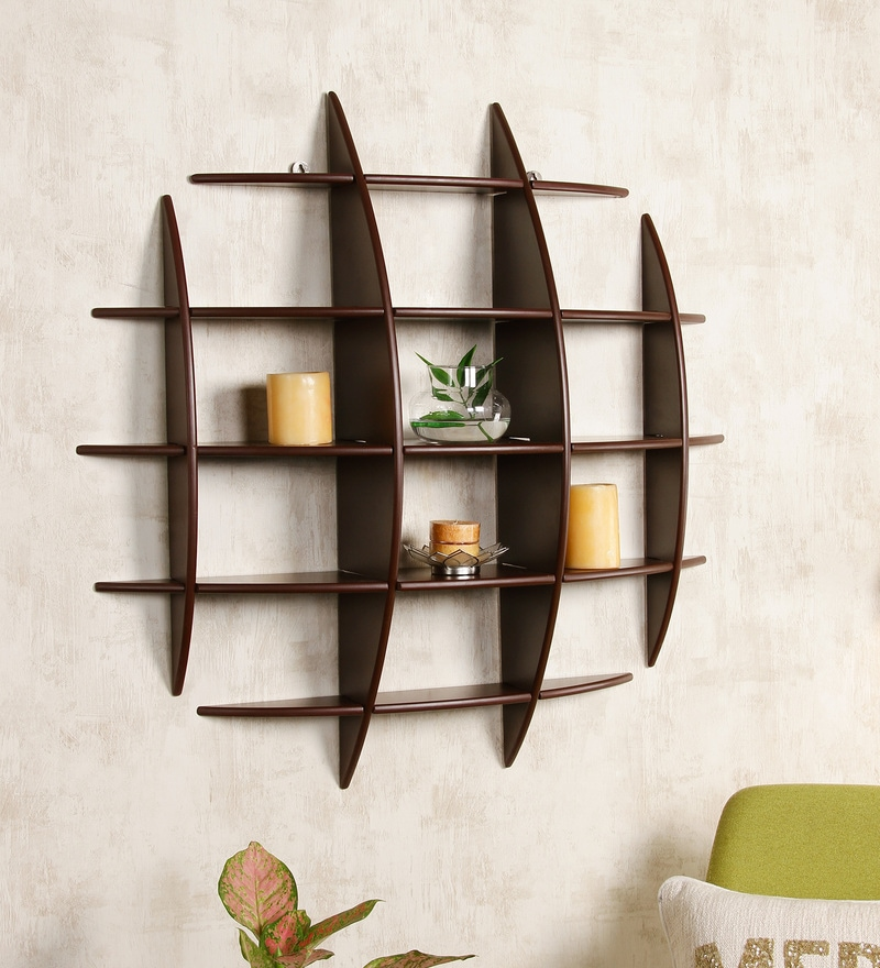 Buy Criss Cross Wall Shelf In Brown Finish By Dream Arts