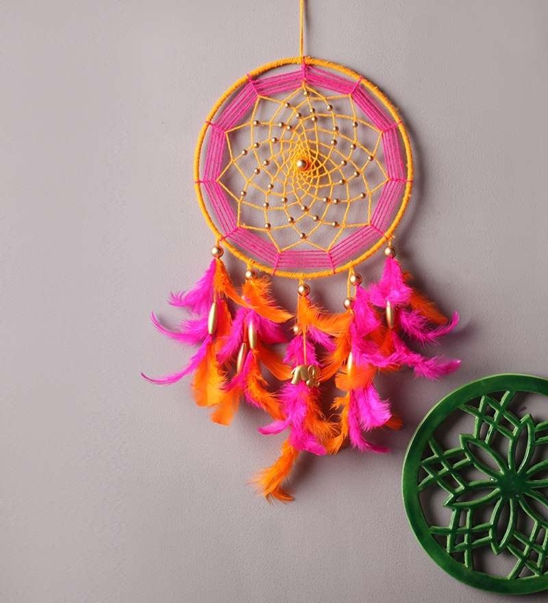 Pink & Orange Wool Dream Catcher by Rooh Dream