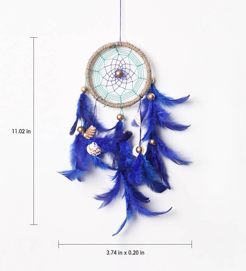 Buy Blue Wool Dream Catcher By Rooh Dream Catchers Online