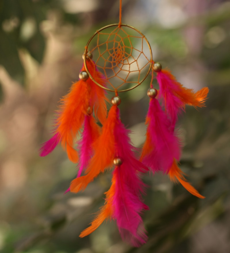 Orange and Pink Wool 14 x 1 x 19 Inch Dream Catcher by Rooh Dream