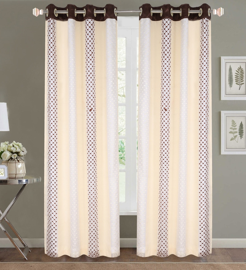 Beige Poly Cotton 84 x 48 Inch Geometric Door Curtains - Set of 2 by Dreamscape