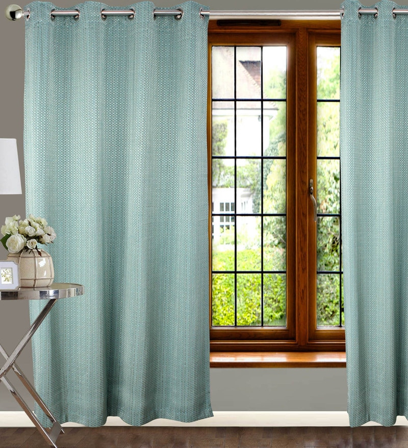 Brown Polyester 84 x 47 Inch Abstract Eyelet Door Curtains - Set of 2 by Dreamscape