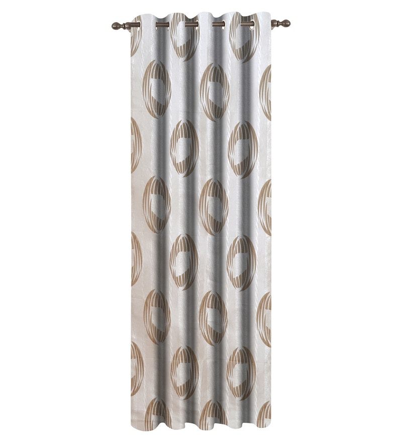 Dreamscape Brown Polyester Geometric 84x48 INCH Eyelet Door Curtain
