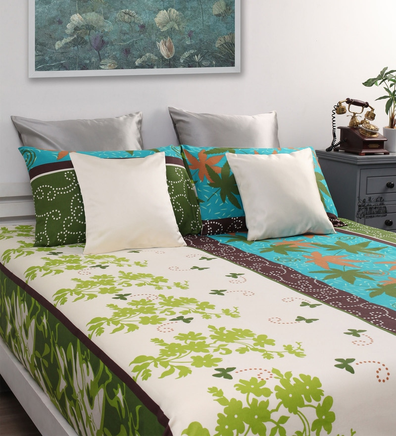 Buy Green Cotton Queen Size Bed Sheet Set Of 3 By Dreamscape Online Nature And Florals Queen