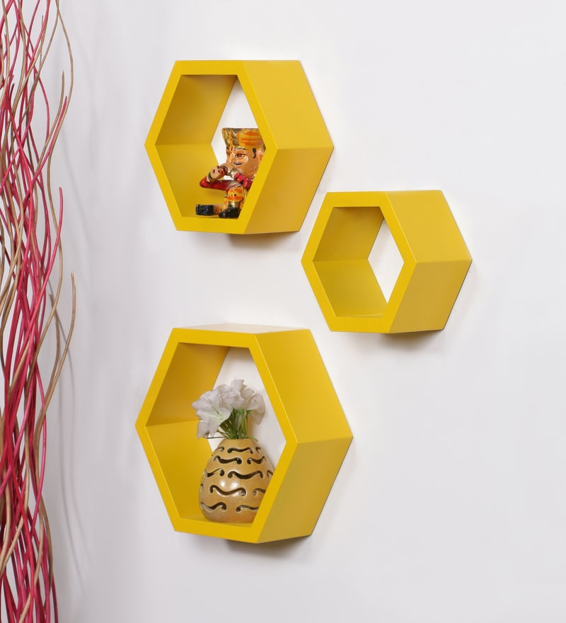 Yellow MDF Hexagon Shape Wall Shelf - Set of 3 by DriftingWood