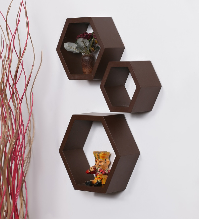 Wenge MDF Hexagon Shape Wall Shelf - Set of 3 by DriftingWood