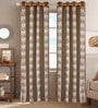 Beige Poly Cotton 48 x 84 Inch Floral Door Curtains - Set of 2 by Dreamscape