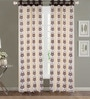 Beige Poly Cotton 48 x 84 Inch Floral Door Eyelet Curtains - Set of 2 by Dreamscape