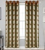 Beige Poly Cotton 84 x 48 Inch Floral Door Curtains - Set of 2 by Dreamscape