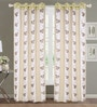 Beige Poly Cotton 84 x 48 Inch Floral Door Eyelet Curtains - Set of 2 by Dreamscape