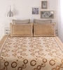 Dreamscape Beige Poly Cotton Bed Cover with Pillow Cover - Set of 3