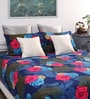 Dreamscape Multicolour Cotton Floral Queen Bed Sheet (with 2 Pillow Covers)-Set of 3