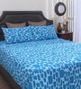 Blue Cotton Queen Size Bed Sheet - Set of 3 by Dreamscape
