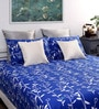 Dreamscape Blue & White Floral Queen Bed Sheet (with 2 Pillow Covers)-Set of 3