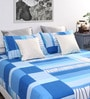 Blue Cotton Printed Queen Bed Sheet (with 2 Pillow Covers)-Set of 3 by Dreamscape