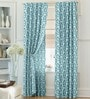 Blue Polyester 84 x 47 Inch Ethnic Eyelet Door Curtains - Set of 2 by Dreamscape