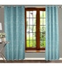 Blue Polyester 84 x 47 Inch Floral Eyelet Door Curtains - Set of 2 by Dreamscape