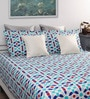 Dreamscape Blue Cotton Queen Size Bed Sheet with 2 Pillow Covers-Set of 3