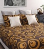Brown Cotton Abstract Queen Bed Sheet (with 2 Pillow Covers)-Set of 3 by Dreamscape