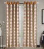 Brown Poly Cotton 48 x 84 Inch Floral Door Curtains - Set of 2 by Dreamscape