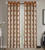 Brown Poly Cotton 84 x 48 Inch Floral Door Curtains - Set of 2 by Dreamscape