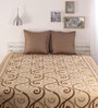 Brown Poly Cotton Bed Cover without Pillow Cover by Dreamscape