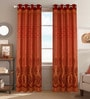 Red Poly Cotton 48 x 84 Inch Door Curtains - Set of 2 by Dreamscape