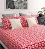 Red Cotton Queen Size Bed Sheet with 2 Pillow Covers- Set of 3 by Dreamscape
