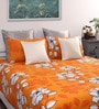 Yellow Cotton Damask Queen Bed Sheet (with 2 Pillow Covers)-Set of 3 by Dreamscape